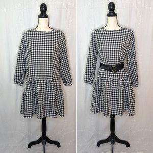NWOT SHEIN Drop Waist Ruffle Skirt Gingham Dress